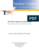 Justice Centre for Constitutional Freedoms (JCCF) - The 2011 Campus Freedom Index - Measuring the state of free speech at Canadian universities
