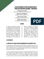 Determinação de Nitrogênio Total em amostras de Rocha Petrolífera pelo Método Kjeldahl , Indofenol