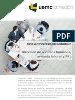 Curso universitario de especialización en Dirección de recursos humanos, gestión laboral y PRL