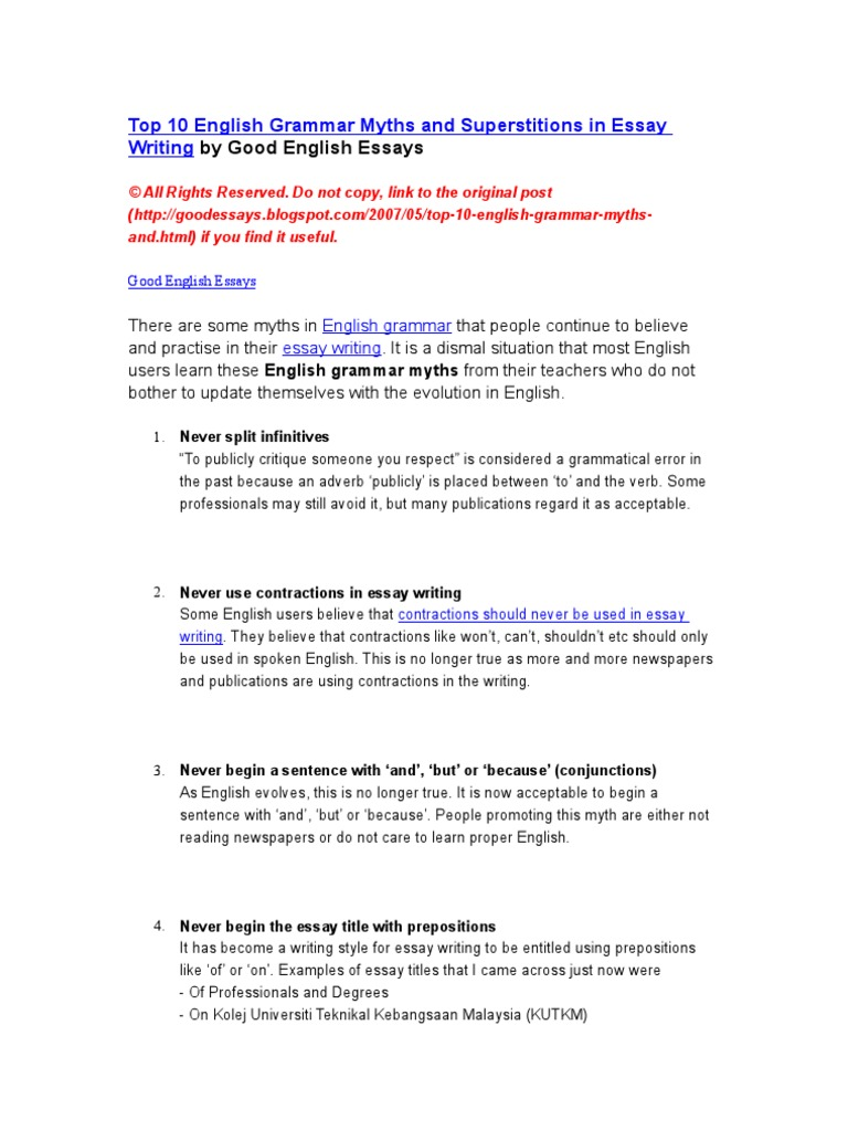top english grammar myths and superstitions in essay writing by top 10 english grammar myths and superstitions in essay writing by good english essays english language