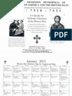Western Rite Orthodox Calendar 2012