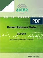 AU9540 Driver Release Note 20100813
