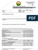 Student\'s Self Evaluation Form