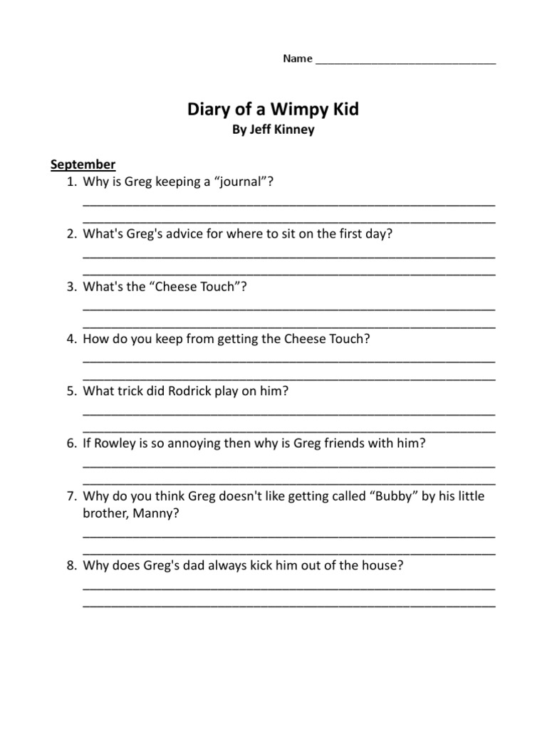 Comprehension Questions Diary of a Wimpy Kid – Diary of a Wimpy Kid Worksheets