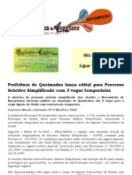 Prefeitura de Queimadas lança edital para Processo Seletivo Simplificado com 3 vagas temporárias