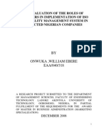 Evaluation of Role of Managers in Implementation of ISO 9001 in Selected Nigerian Companies