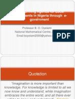 Transforming Agenda for Local Governments in Nigeria Through e government