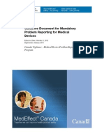 CA Health Canada Guidance Document for Mandatory Problem Reporting for Medical Devices