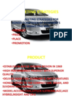 honda marketing stratergy Advertising and sales promotion  adverting is only one element of the promotion mix, but it often considered prominent in the overall marketing mix design.