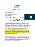 Iowa Department of Health Statement on Corporate Dentistry