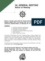 Kawana Surf Club | Notice of AGM 2012