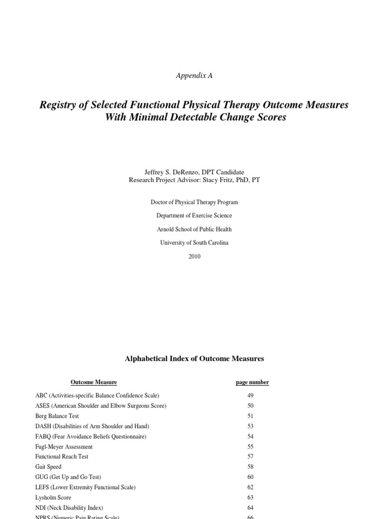 Berg katherine physical therapy - Registry Of Outcome Measures With Mdc 2010 Balance Ability Physical Therapy