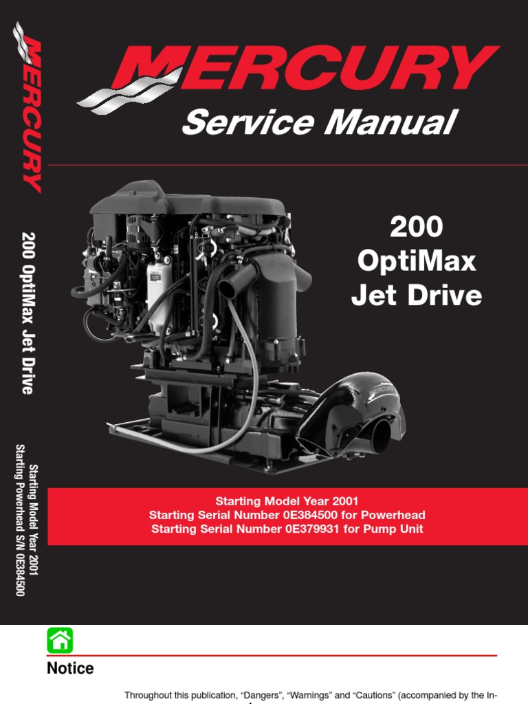8369382-Mercury Mariner 200hp Optimax Jet Drive Service Manual | Internal  Combustion Engine | Cylinder (Engine)