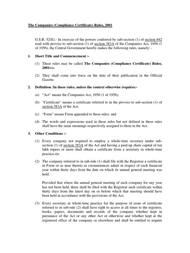 Compliance Certificate Rulespdf Board Of Directors Securities