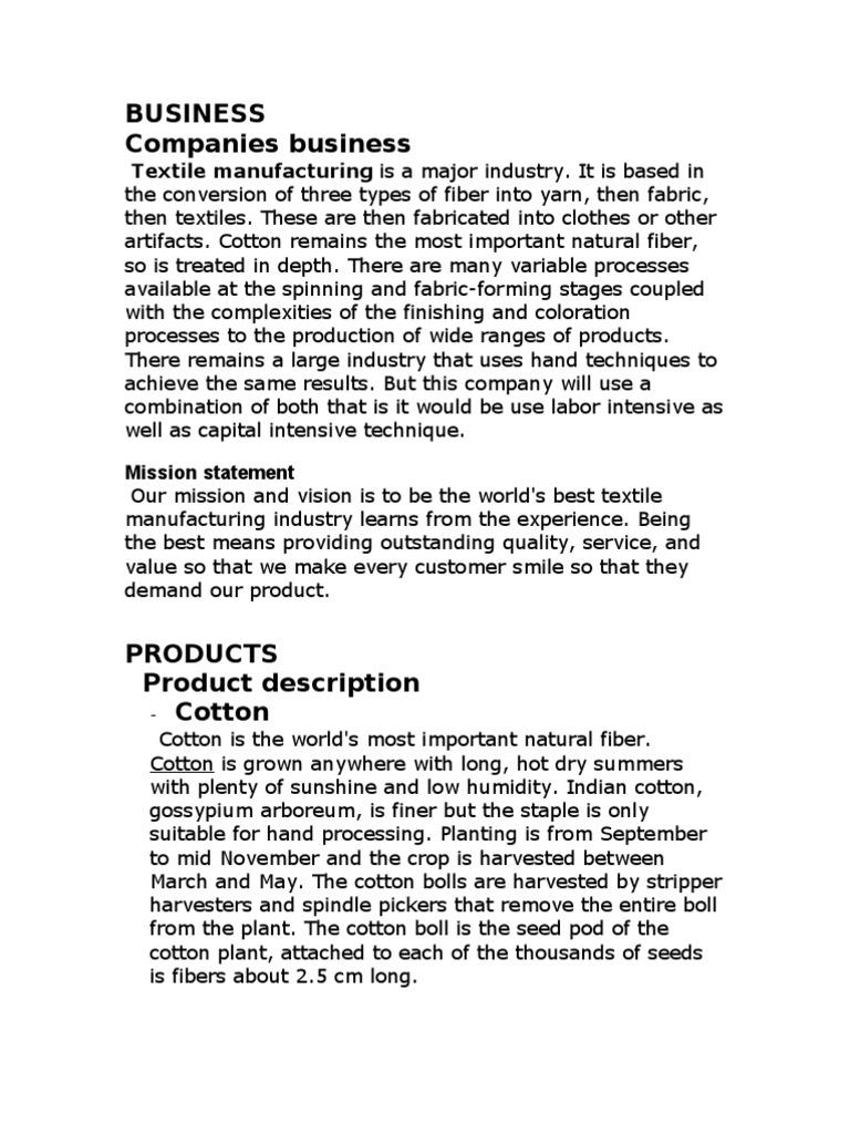 Business Plan | Textile Manufacturing | Cotton