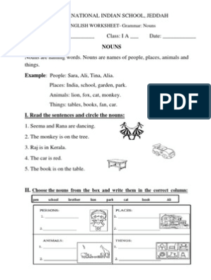 English Worksheets- Class 1 (Nouns, Plurals, Verbs, Adjectives and