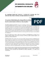 Nota de Prensa PSOE Coslada Pleno 16 de Mayo de 2012