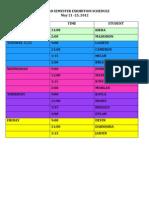 Second Semester Exhibition Schedule