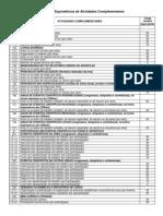 Relação de Atividades Complementares - Anexo regulamento