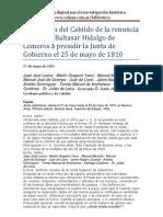 Cabildo de Buenos Aires -Aceptación de la renuncia del virrey Baltasar Hidalgo de Cisneros - 1810