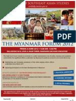 Invitation ISEAS Singapore :THE MYANMAR FORUM 2012 FRIDAY, 8 JUNE 2012