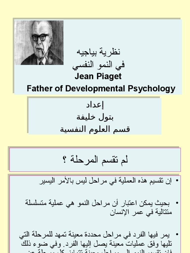 نظرية بياجيه في النمو النفسي إعداد بتول خليفة