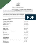 US Embassy List of Hospitals