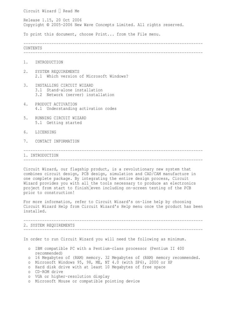 Read Me Installation Computer Programs Microsoft Windows Circuit Wizard Electronic Simulator Latest Version Circuits
