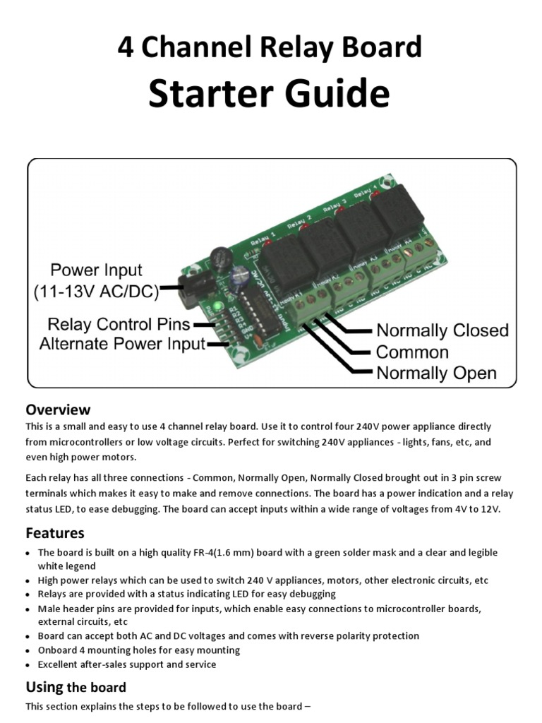 4 Channel Relay Board Starter Guide Relay Power Supply