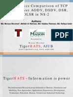 Oral  Presentation - Performance Comparison of TCP variants over AODV, DSDV, DSR, OLSR in NS-2