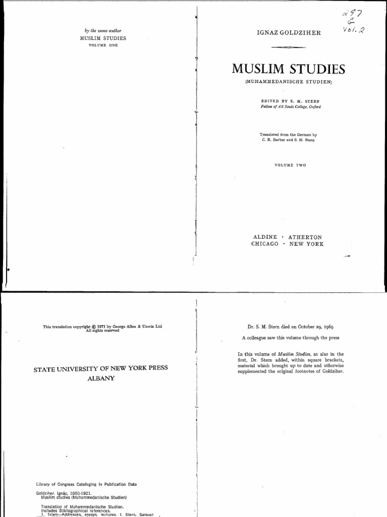 Goldziher Muslim Studies 2 Hadith Ali Herbal Ar Rijal Black