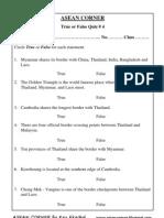 ASEAN CORNER -True or False Quiz # 4