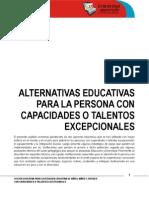 Alternativas Educativas Para Las Personas Con des o Talentos Excepcionales