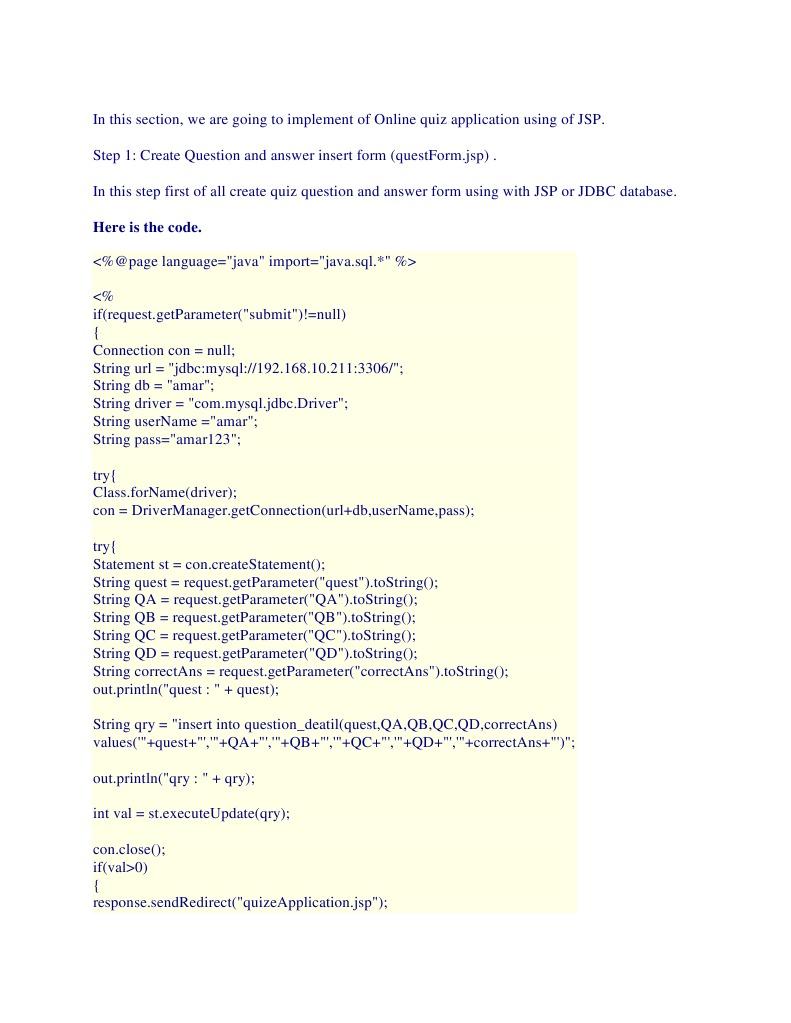 Quiz App doc | Html | Data