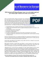 Forum Burmese Europe Statement on  Burma/Myanmar Army's war on the ethnic people-english