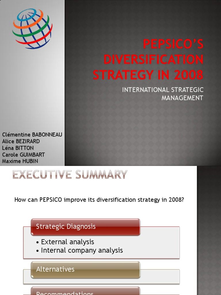 Pepsico diversification strategy in 2008 ppt