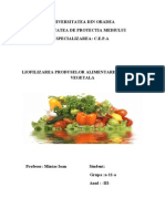 Liofilizarea Produselor Aliment Are de Origine Vegetala
