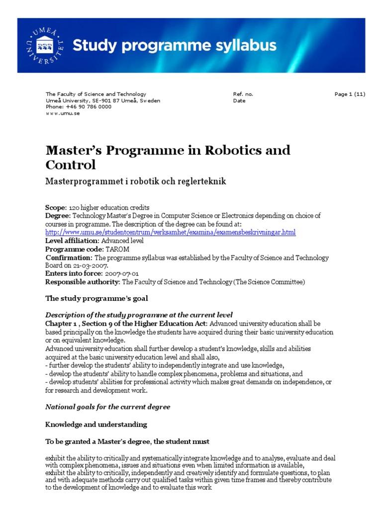 32891 Syllabus Master Robotics And Control Academic Degree Robotics