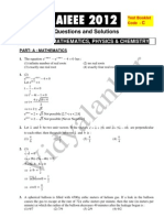AIEEE 2012 Question Paper and Solution