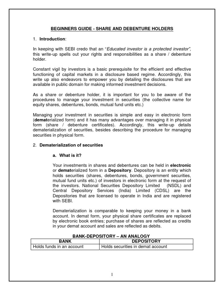 Share Debenture Holder Dividend Securities Finance