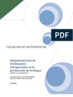 Implementación de fertilizantes en la producción de lechugas