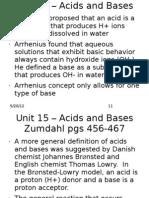 Chem I - Unit 15 – Acids and Bases