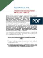 ALERTA LEGAL Nº 8 REGLAMENTO DE LA LEY DE SEGURIDAD Y SALUD EN EL TRABAJO