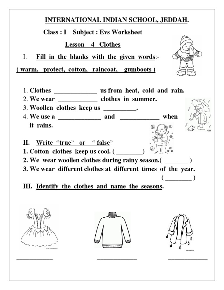 Evs Worksheet Class I Lesson 4 Clothes
