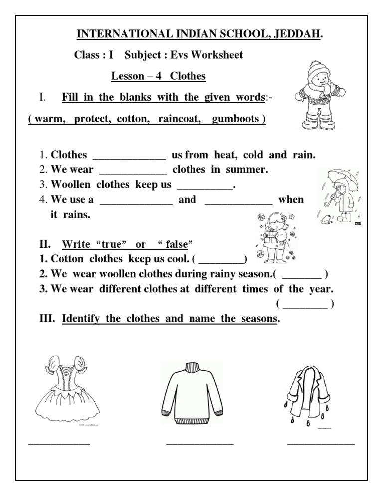 EVS Worksheet - Class I ( Lesson 4: Clothes)
