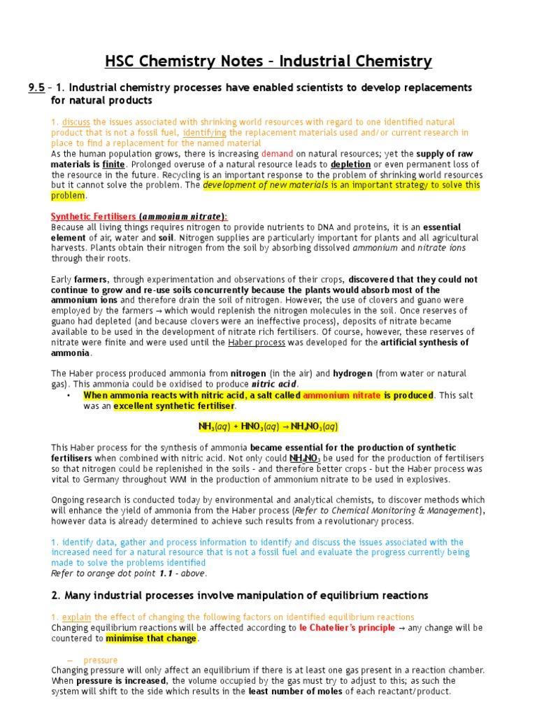 Industrial Chemistry - Syllabus Notes - Daniel Wilson