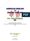 American English vs British English - Same Word Different Meaning