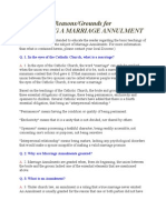 Reasons or Grounds for Marriage Annulment of Catholic Marriage