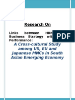 Links Between HRM and Business Strategy With Firm Performance a Cross-Cultural Study Among US, EU and Japanese MNCs in South Asian Emerging Economy