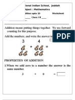 Math Worksheet Class 1 (Addition up to 10)